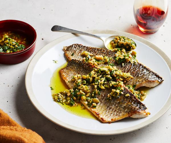 "**[Roasted mullet with olive salsa](https://www.gourmettraveller.com.au/recipes/fast-recipes/roasted-mullet-17855|target=""_blank"")**"