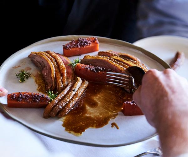 """**[Andrew McConnell's roasted duck breast with spiced quince, anise crumb and mead sauce](https://www.gourmettraveller.com.au/recipes/chefs-recipes/roast-duck-breast-quince-17858