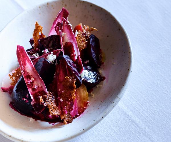 Cutler & Co's red endive and beetroot salad with juniper and horseradish cream