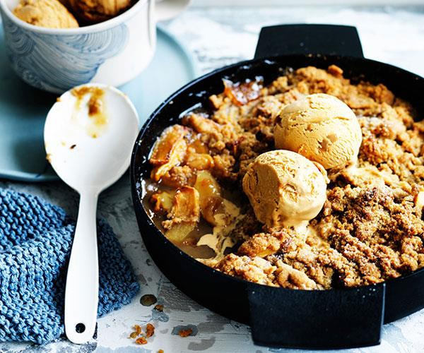 "**[Spiced Fuji apple crumble with dulce de leche ice-cream](https://www.gourmettraveller.com.au/recipes/browse-all/spiced-fuji-apple-crumble-with-dulce-de-leche-ice-cream-12522|target=""_blank""