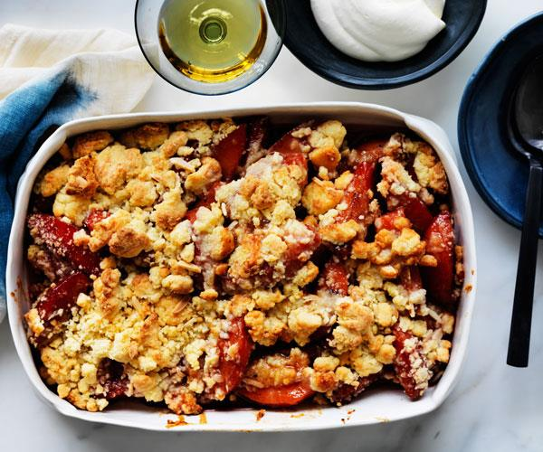 "**[Quince and marzipan crumble](http://www.gourmettraveller.com.au/recipes/browse-all/quince-and-marzipan-crumble-12530|target=""_blank"")**"
