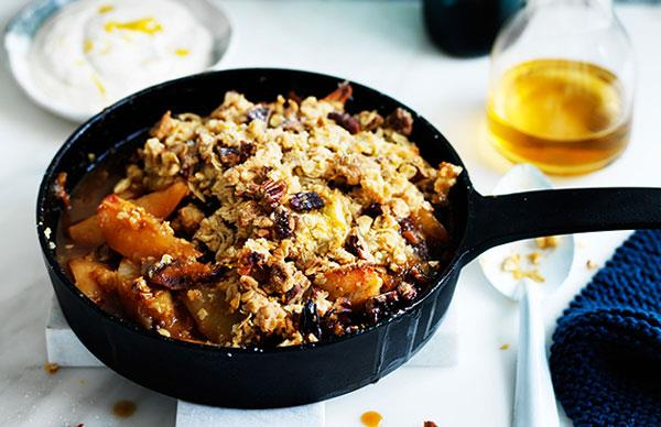 Maple pear and muesli crumble
