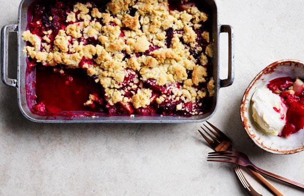 Plum, pear and ginger crumble