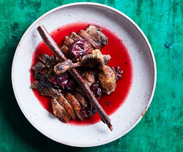 "**[Kylie Kwong's deep-fried duck with Davidson's plum sauce](https://www.gourmettraveller.com.au/recipes/chefs-recipes/deep-fried-duck-17797|target=""_blank"")**"