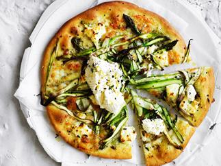 Asparagus and ricotta pizze bianche