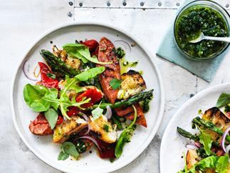 Chorizo and asparagus salad with chimichurri