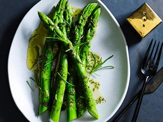 Asparagus and olive herb in sea butter