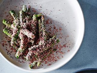 Asparagus with fermented beancurd, olives and ginger dressing