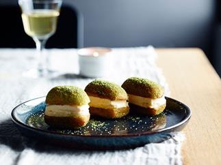 Honey and ginger ice-cream and lemon curd doughnut sandwiches