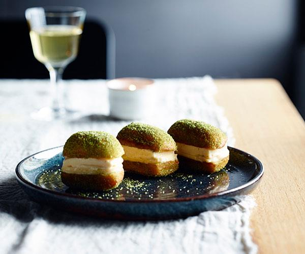"**[Yama Kitchen & Bar's honey and ginger ice-cream and lemon curd doughnut sandwiches](https://www.gourmettraveller.com.au/recipes/chefs-recipes/yama-kitchen-and-bars-honey-and-ginger-ice-cream-and-lemon-curd-doughnut-sandwiches-8460|target=""_blank"")**"
