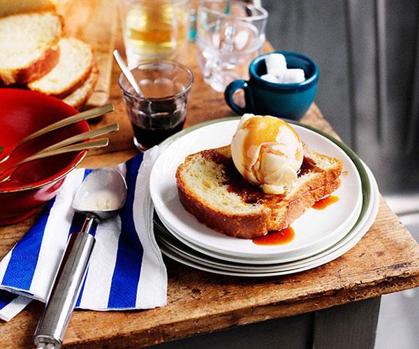 Brioche, coconut and caramel ice-cream sandwiches