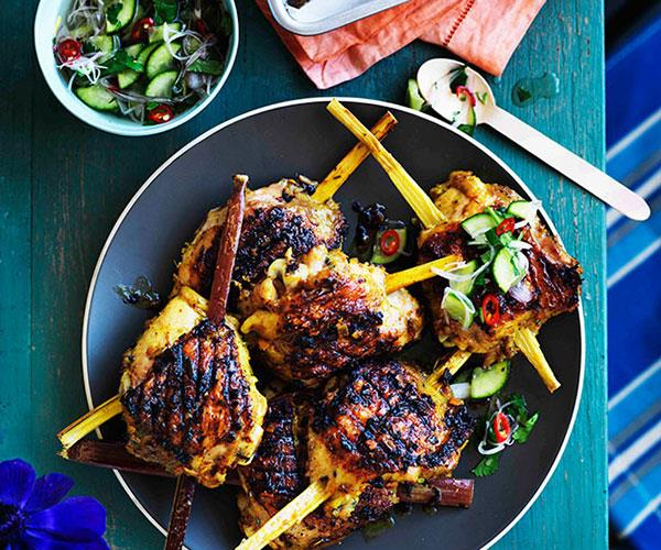 Turmeric and lemongrass chicken on sugarcane