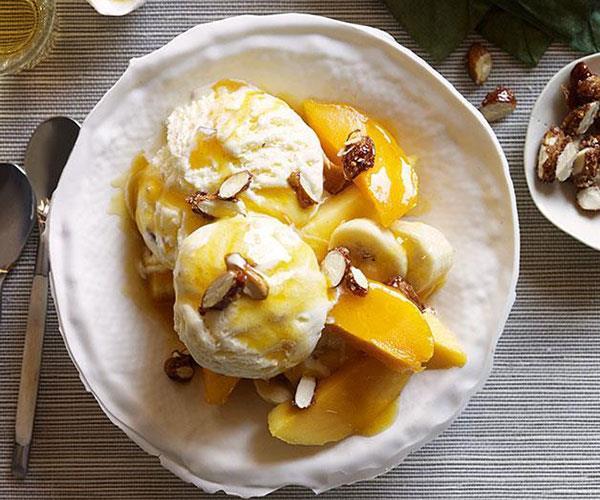 Mango sundaes with salted-caramel ice-cream