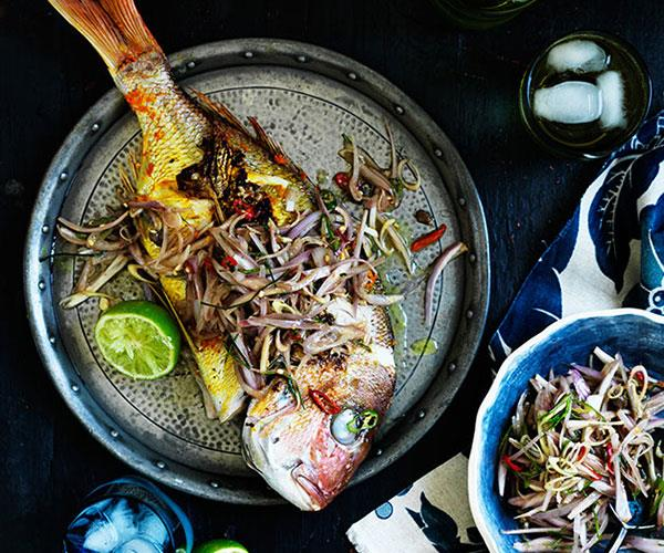 """**[Barbecued turmeric snapper with sambal matah](https://www.gourmettraveller.com.au/recipes/browse-all/barbecued-turmeric-snapper-with-sambal-matah-12195