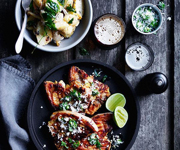 "**[Turmeric pork chops with green chilli and coconut sambal](https://www.gourmettraveller.com.au/recipes/browse-all/turmeric-pork-chops-with-green-chilli-and-coconut-sambal-12431|target=""_blank""|rel=""nofollow"")**"