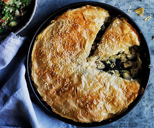 """**[Turmeric and ginger chicken fillo pie](https://www.gourmettraveller.com.au/recipes/browse-all/turmeric-and-ginger-chicken-fillo-pie-12527 target=""""_blank"""")**"""