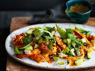 Turmeric and coconut grilled prawns with mint and cucumber salad