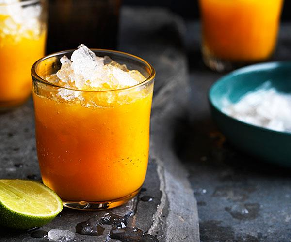 """**[Mango, turmeric and ginger-lime nectar](https://www.gourmettraveller.com.au/recipes/browse-all/mango-turmeric-and-ginger-lime-nectar-12716