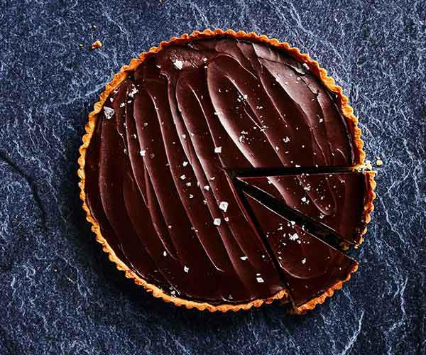 Salted caramel and chocolate ganache tart