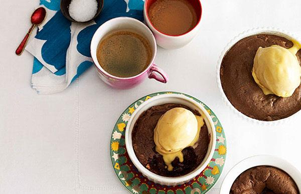 Peanut butter chocolate fondant with salted caramel ice-cream