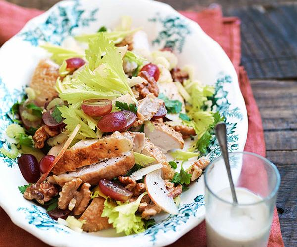 "**[Roast chicken, walnut and grape salad with blue cheese dressing](https://www.gourmettraveller.com.au/recipes/browse-all/roast-chicken-walnut-and-grape-salad-with-blue-cheese-dressing-10878|target=""_blank"")**"