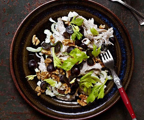 Chicken salad with black grapes, walnuts and celery