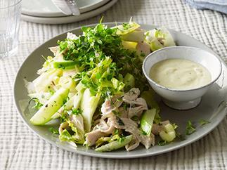 Roast chicken salad with cider, apple and witlof