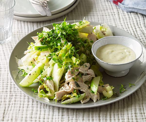 "**[Roast chicken salad with cider, apple and witlof](https://www.gourmettraveller.com.au/recipes/browse-all/roast-chicken-salad-with-cider-apple-and-witlof-11775|target=""_blank"")**"