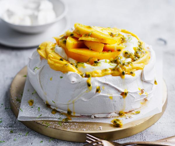 "**[Passionfruit and mango pavlova](https://www.gourmettraveller.com.au/recipes/browse-all/passionfruit-and-mango-pavlova-12947|target=""_blank"")**"