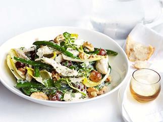 Poached chicken, green bean and basil mayonnaise salad