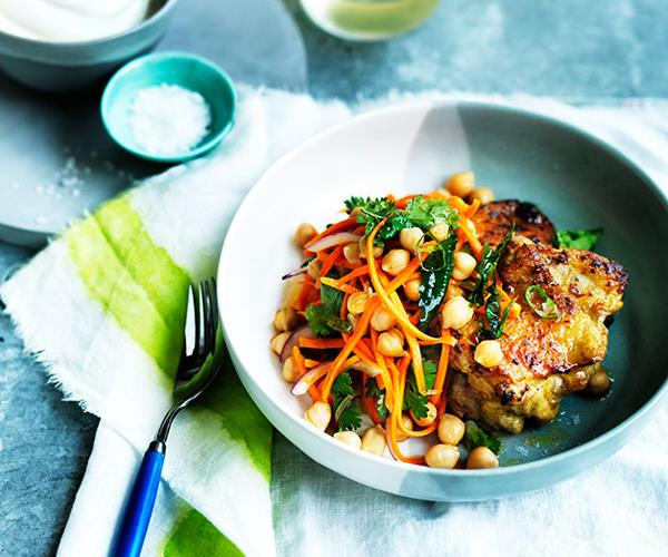 """[**Spiced chicken with carrot, chickpea and green chilli salad**](https://www.gourmettraveller.com.au/recipes/fast-recipes/spiced-chicken-with-carrot-chickpea-and-green-chilli-salad-13687 target=""""_blank"""")"""