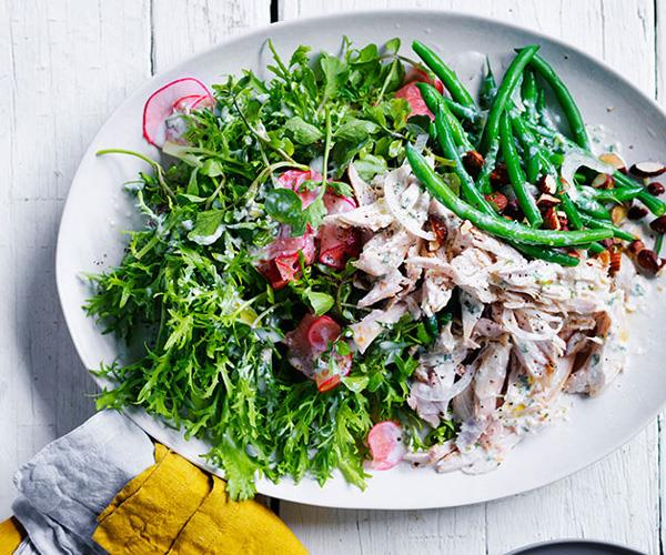"**[Chicken, radish and bean salad with tarragon dressing](https://www.gourmettraveller.com.au/recipes/fast-recipes/chicken-radish-and-bean-salad-13701|target=""_blank"")**"