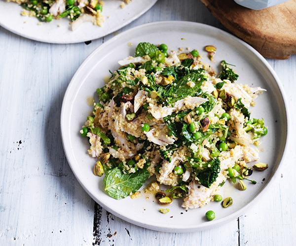 "**[Poached chicken and millet salad with peas and mint](https://www.gourmettraveller.com.au/recipes/fast-recipes/poached-chicken-and-millet-salad-with-peas-and-mint-13789|target=""_blank"")**"