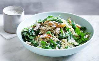 Chicken salad with asparagus and quinoa