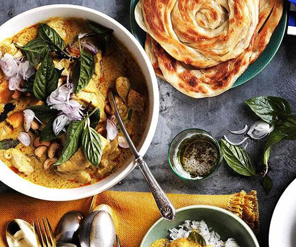 """**[Chicken and bamboo-shoot yellow curry with roti and rice](https://www.gourmettraveller.com.au/recipes/browse-all/chicken-and-bamboo-shoot-yellow-curry-with-roti-and-rice-10943 target=""""_blank"""")**"""