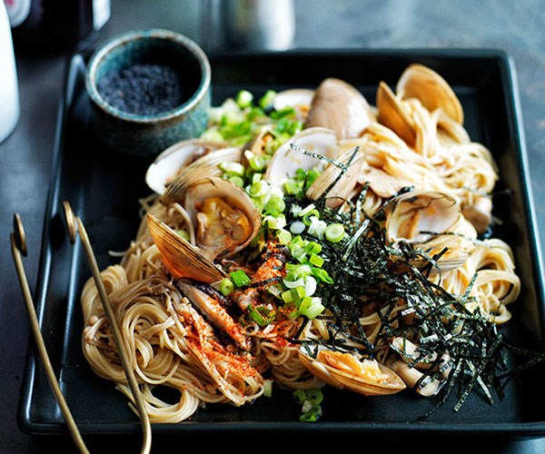 "**[Japanese clam and angelhair pasta](https://www.gourmettraveller.com.au/recipes/browse-all/japanese-clam-and-angelhair-pasta-11771|target=""_blank"")**"