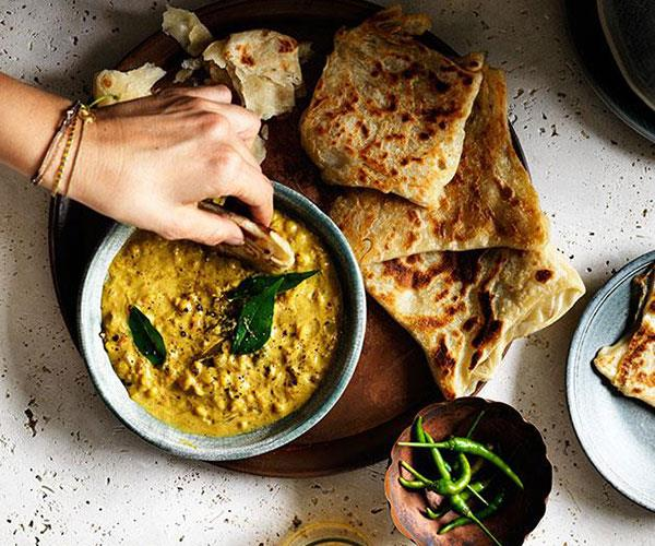 "**[Roti with chana dhal](https://www.gourmettraveller.com.au/recipes/browse-all/roti-with-chana-dhal-12301|target=""_blank""