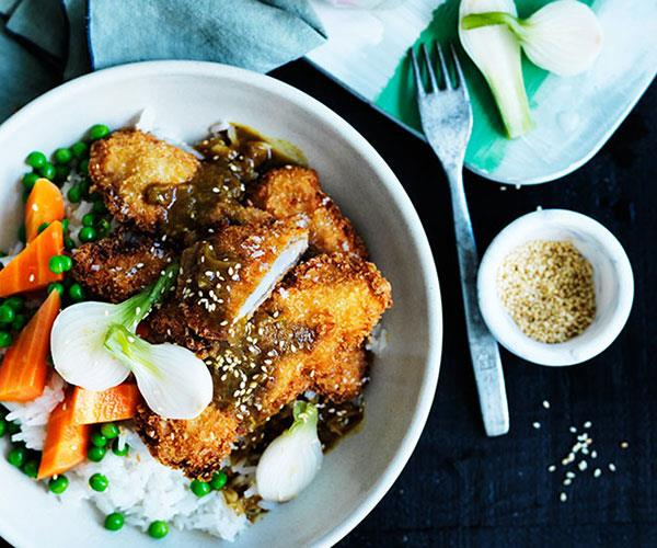 Japanese-style onion pickles with crumbed pork and curry
