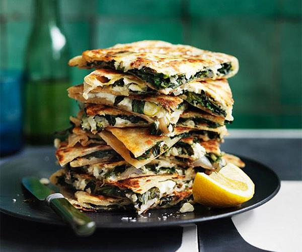 "**[Feta and greens gözleme](https://www.gourmettraveller.com.au/recipes/browse-all/feta-and-greens-goezleme-12778|target=""_blank"")**"