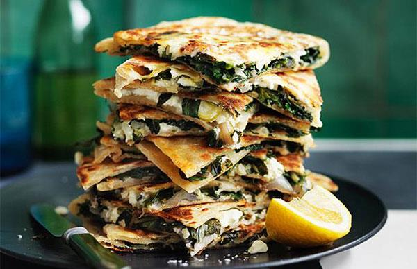 Feta and greens gözleme recipe