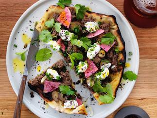 Turkish flatbread with beef and yoghurt
