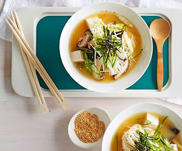 Miso broth with tofu and mushrooms
