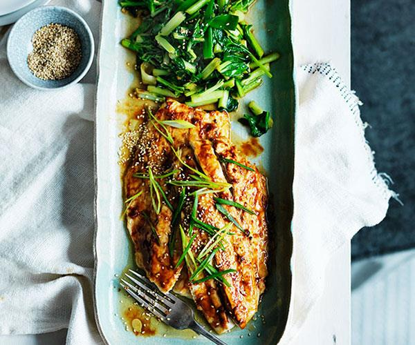 Miso roast mulloway with sesame and sautéed greens