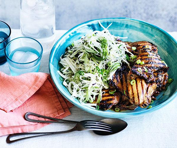 "**[Chicken teriyaki with wasabi slaw](https://www.gourmettraveller.com.au/recipes/fast-recipes/chicken-teriyaki-with-wasabi-slaw-13867|target=""_blank"")**"