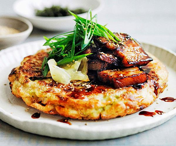 "**[Okonomiyaki with sticky soy pork belly](https://www.gourmettraveller.com.au/recipes/browse-all/okonomiyaki-with-sticky-soy-pork-belly-11662|target=""_blank"")**"