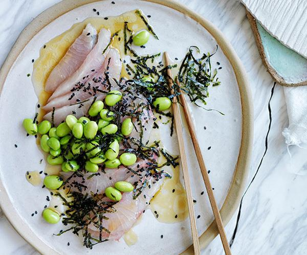 "**[Sashimi of mulloway with a sesame-citrus dressing, edamame and seaweed](https://www.gourmettraveller.com.au/recipes/browse-all/sashimi-of-mulloway-with-a-sesame-citrus-dressing-edamame-and-seaweed-11894|target=""_blank"")**"