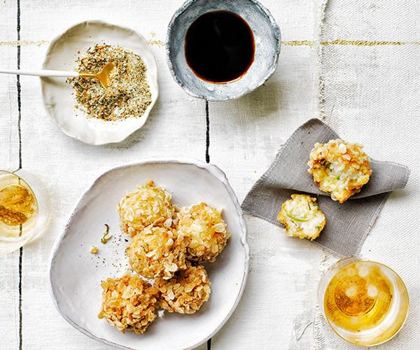 Rice and crab fritters with genmaicha salt