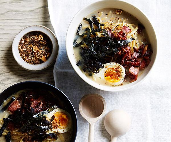 **[Bacon and egg tonkotsu ramen](https://www.gourmettraveller.com.au/recipes/browse-all/bacon-and-egg-tonkotsu-ramen-12282)**