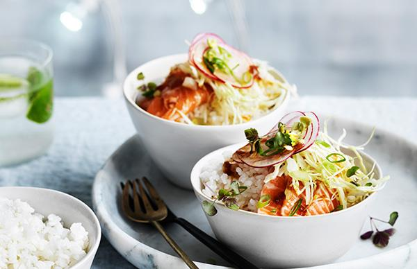 Sashimi rice bowls with pickled ginger dressing and wasabi peas