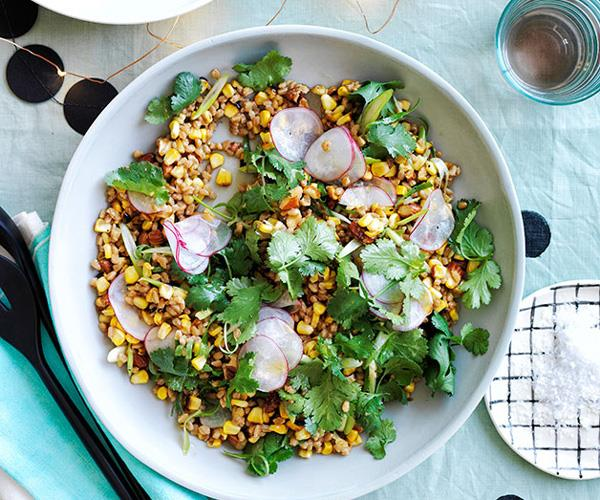 Toasted corn and spelt with miso dressing